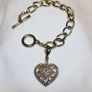 Vintage Monet 1960s toggle bracelet & heart charm